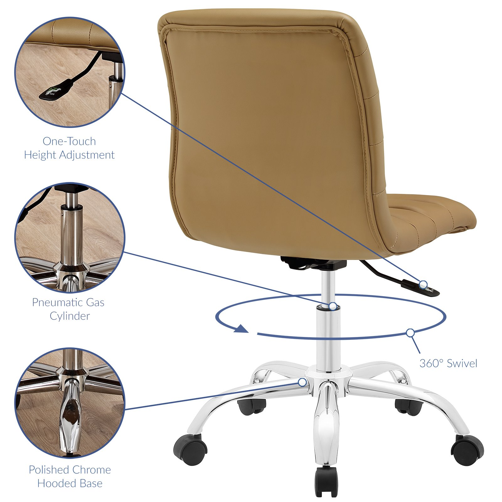 Modway Ripple Mid Back Office Chair, Tan by Modway (Image #3)