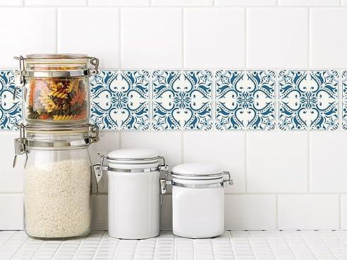 Graz Design® Dekofliesen Wandfliesen Selbstklebend Badezimmer Und Küche Mosaik  Weiß Blau (15x15cm //