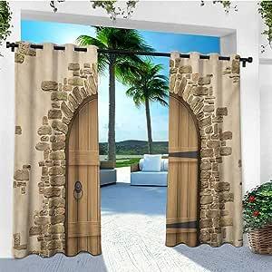 Cortina rústica de leinuoyi, para exteriores, con arandela de madera rústica para puerta en la pared de una casa de troncos antigua, antigua, para puerta de entrada de edificio, cortinas de porche