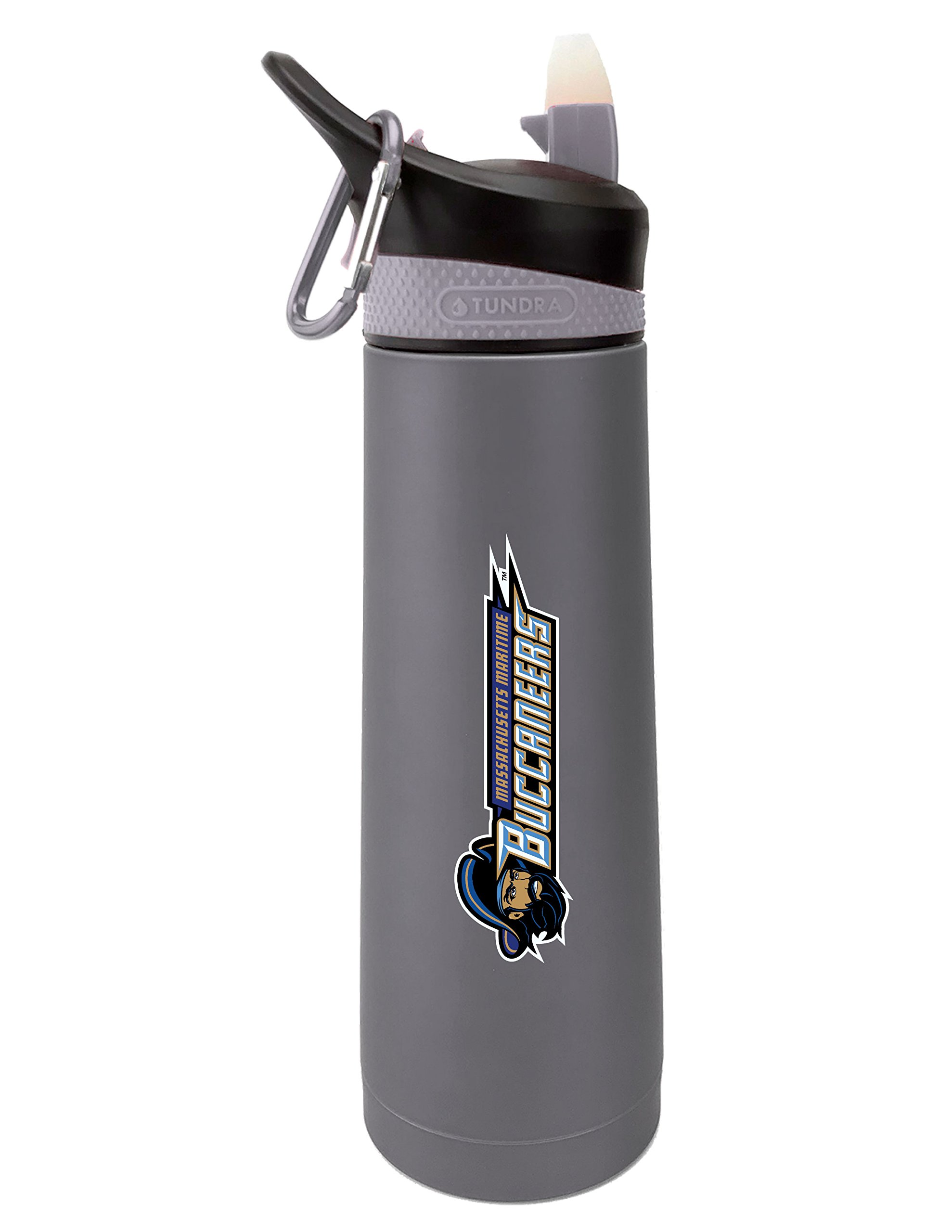 The Fanatic Group Massachusetts Maritime Academy Dual Walled Stainless Steel Sports Bottle, Design 1 - Silver