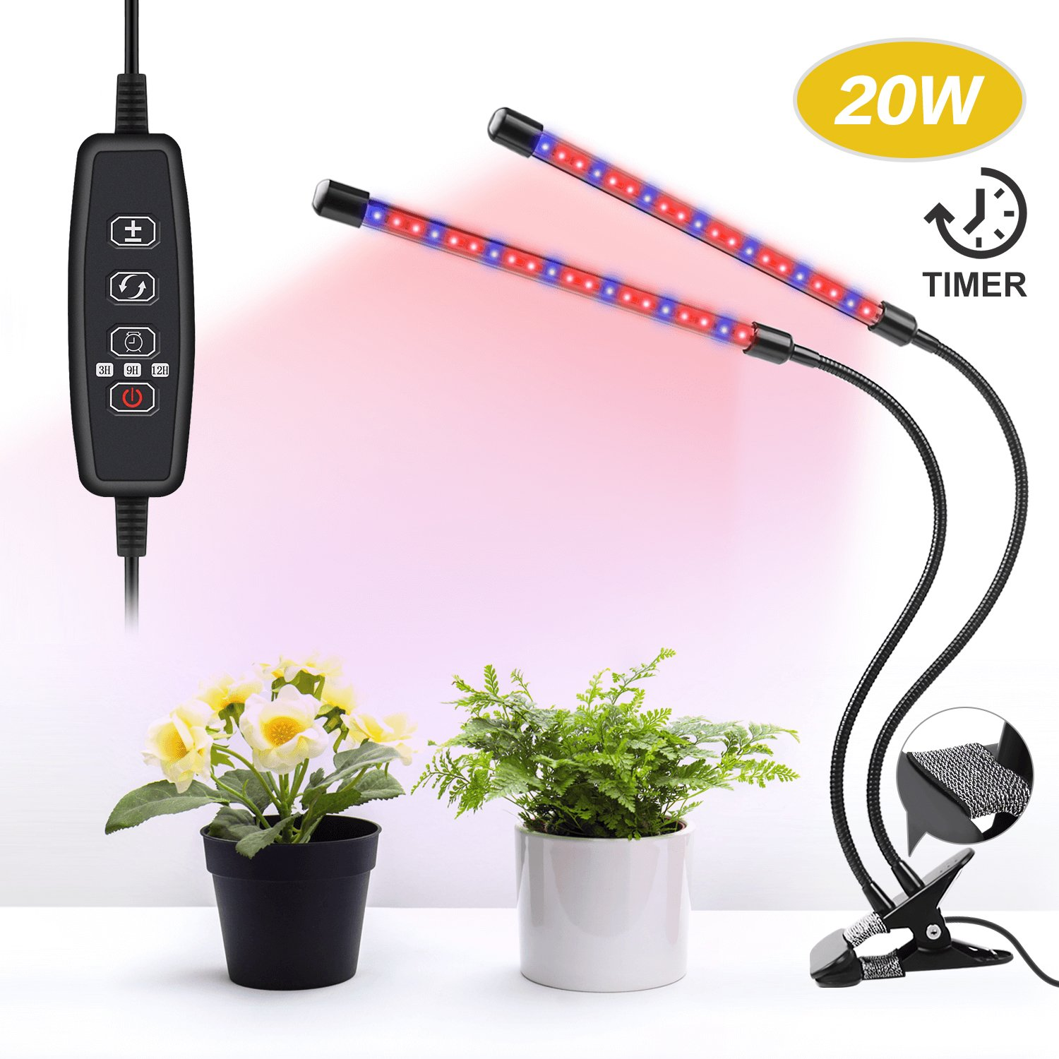 UNIWA Grow Light 20W Dual Head Plant Grow Lamp with 40 LED Red/Blue Spectrum 360° Gooseneck 5 Dimmable Levels Desktop Grow Light for Indoor Plants Hydroponics Greenhouse Gardening