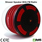 iFox iF013 Bluetooth Shower Speaker - 100% Waterproof Shower Radio. Wireless It Pairs To All Bluetooth Devices - Phones, Tablets, Computer, Games (Red & Black)