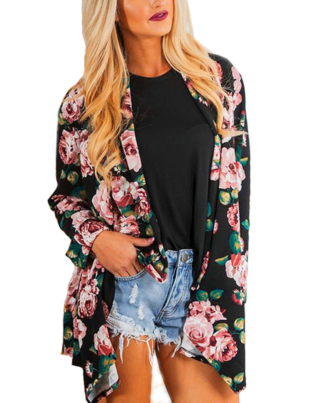 BB&KK Women Flowy Sheer Crop Sleeves Loose Chiffon Kimono Cardigan Blouse Top (M)