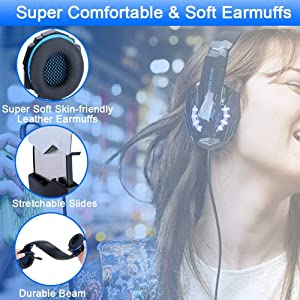 BlueFire Stereo Gaming Headset for PS4, PC, Xbox One Controller, Noise Cancelling Over Ear Headphones with Mic, LED Light, Bass Surround, Soft Memory Earmuffs for Laptop Nintendo Switch Games (Blue) (Color: Blue)