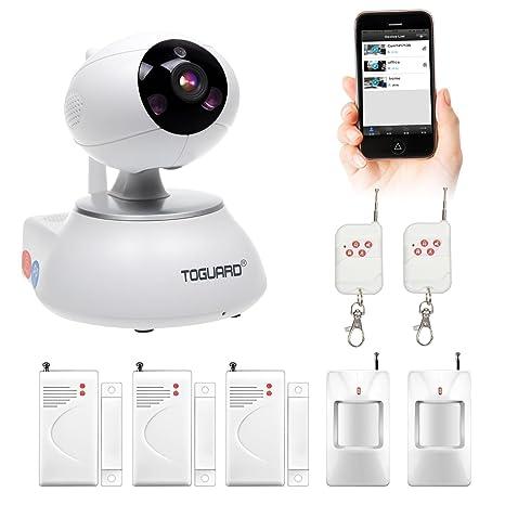 Cámara IP inalámbrica, sistema de seguridad con alarma para el hogar, videovigilancia WiFi con visión nocturna, cámara móvil con sensor de puerta ...
