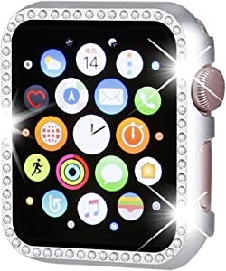 Henstar Compatible with Apple Watch Case 40mm,iWatch Face Bling Crystal Diamonds Plate Cover Protective Frame Compatible with Apple Watch Series 6/5/4/SE 40mm(Silver-Diamond)