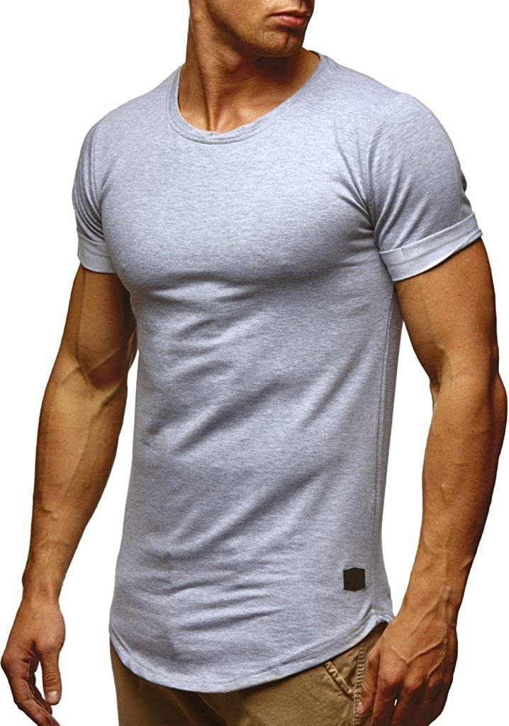 Moderner M/änner T-Shirt Crew Neck Hoodie-Sweatshirt Kurzarm lang LEIF NELSON Herren Sommer T-Shirt Rundhals-Ausschnitt Slim Fit Baumwolle-Anteil LN6368