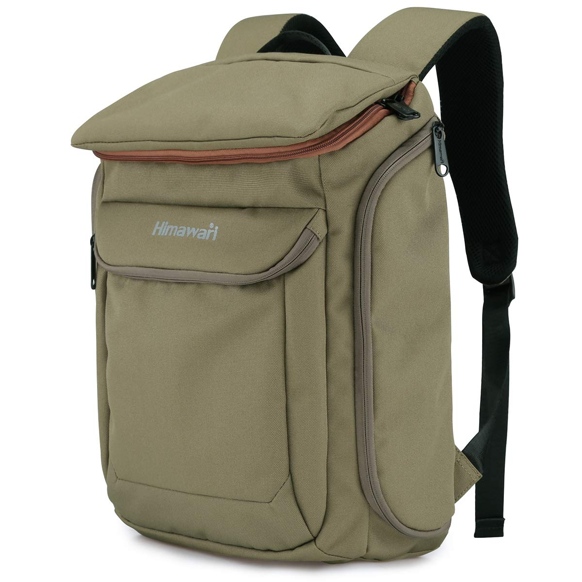 Himawari Travel School Laptop Backpack for Men Women, 15.6 Inch Computer Work Bag for College Students Adults, Casual Daypack Khaki