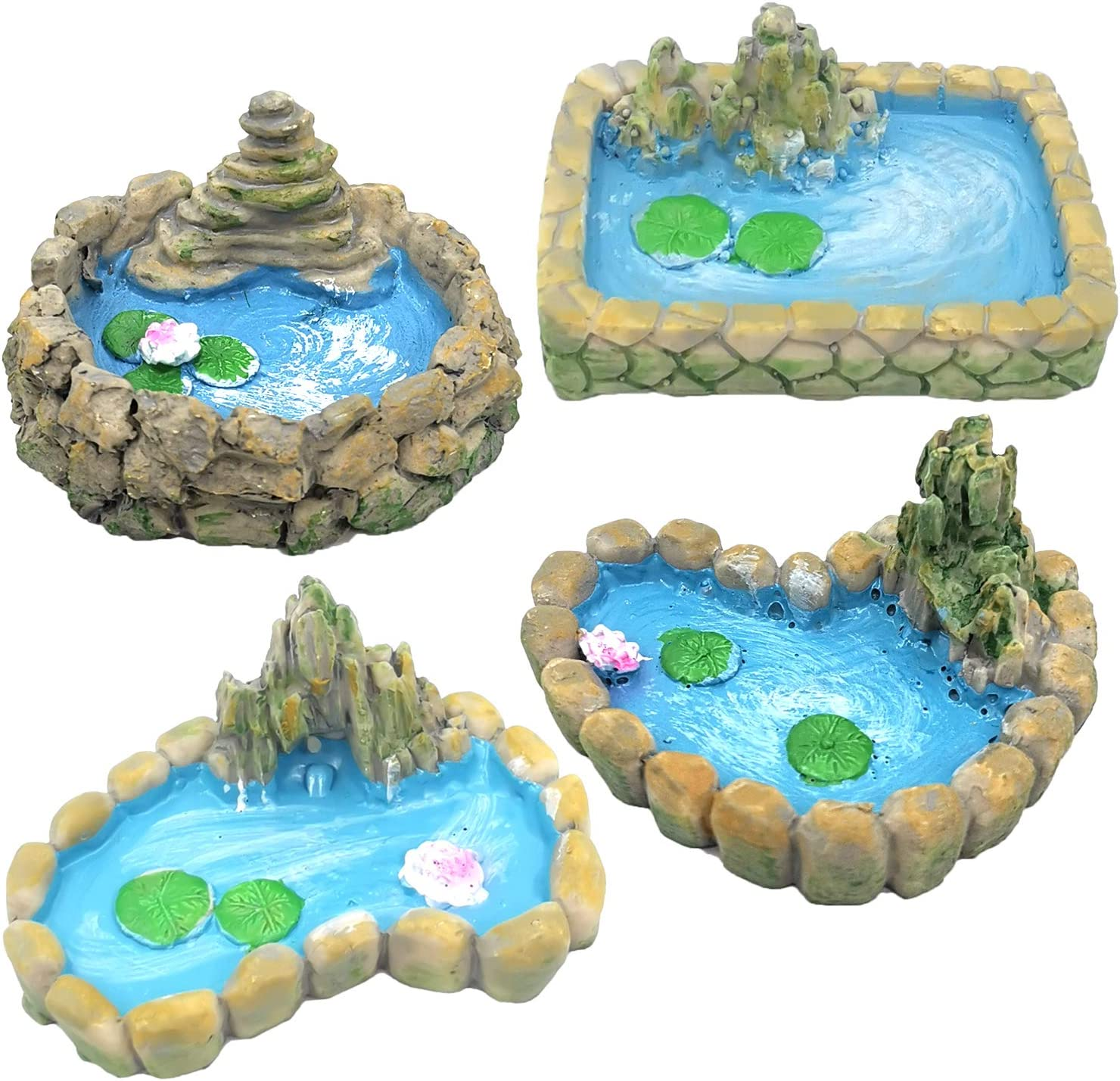 Trasfit 4 Pieces Fairy Garden Miniature Pond Ornaments Accessories for Miniature Garden Accessories, Home Micro Landscape Decoration
