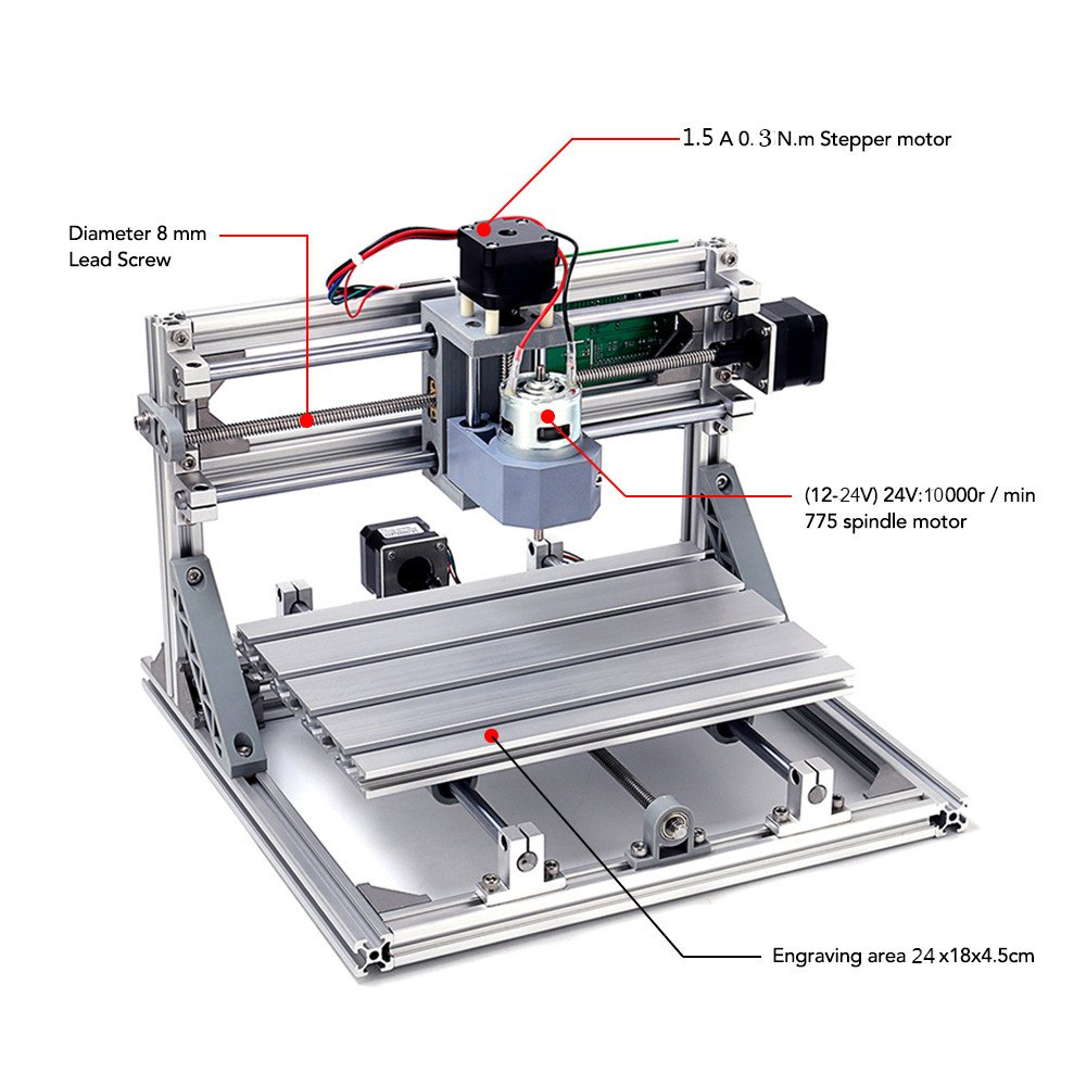 [UPGRADE VERSION] DIY CNC Router Kits, MYSWEETY 2418 GRBL Control CNC Wood  Carving Milling Engraving Machine with ER11 and 5mm Extension Rod (Working