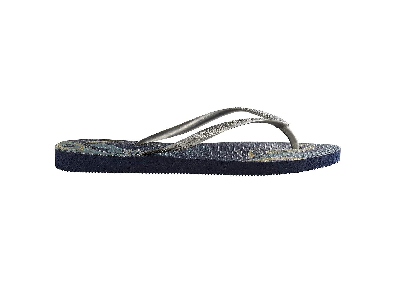 Havaianas Damen Schmale Öko Flip Flop-Sandalen, Blaumenmuster, merhfarbig    bb5179