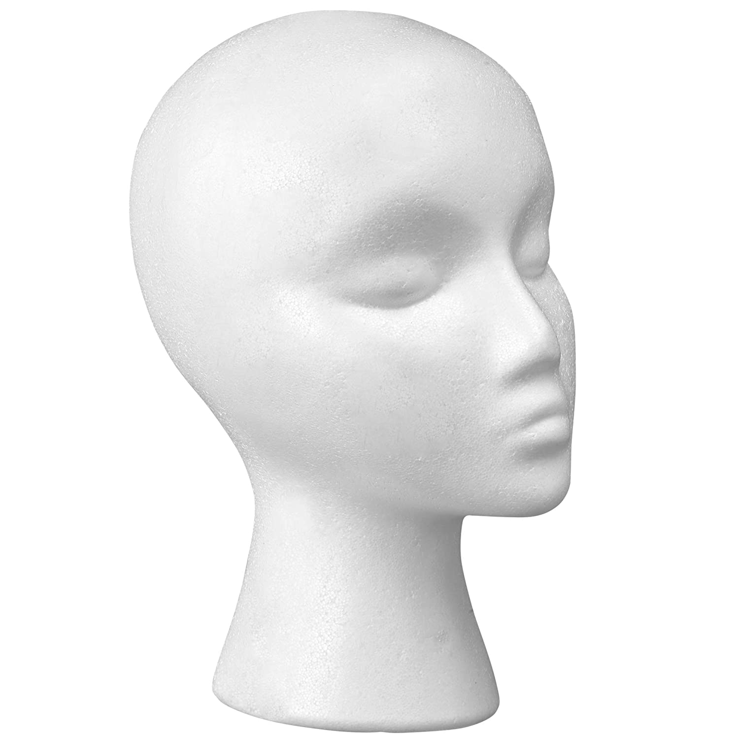 "12"" Styrofoam Wig Head - Tall Female Foam Mannequin Wig Stand and Holder - Style, Model And Display Hair, Hats and Hairpieces - For Home, Salon and Travel - by Cantor"