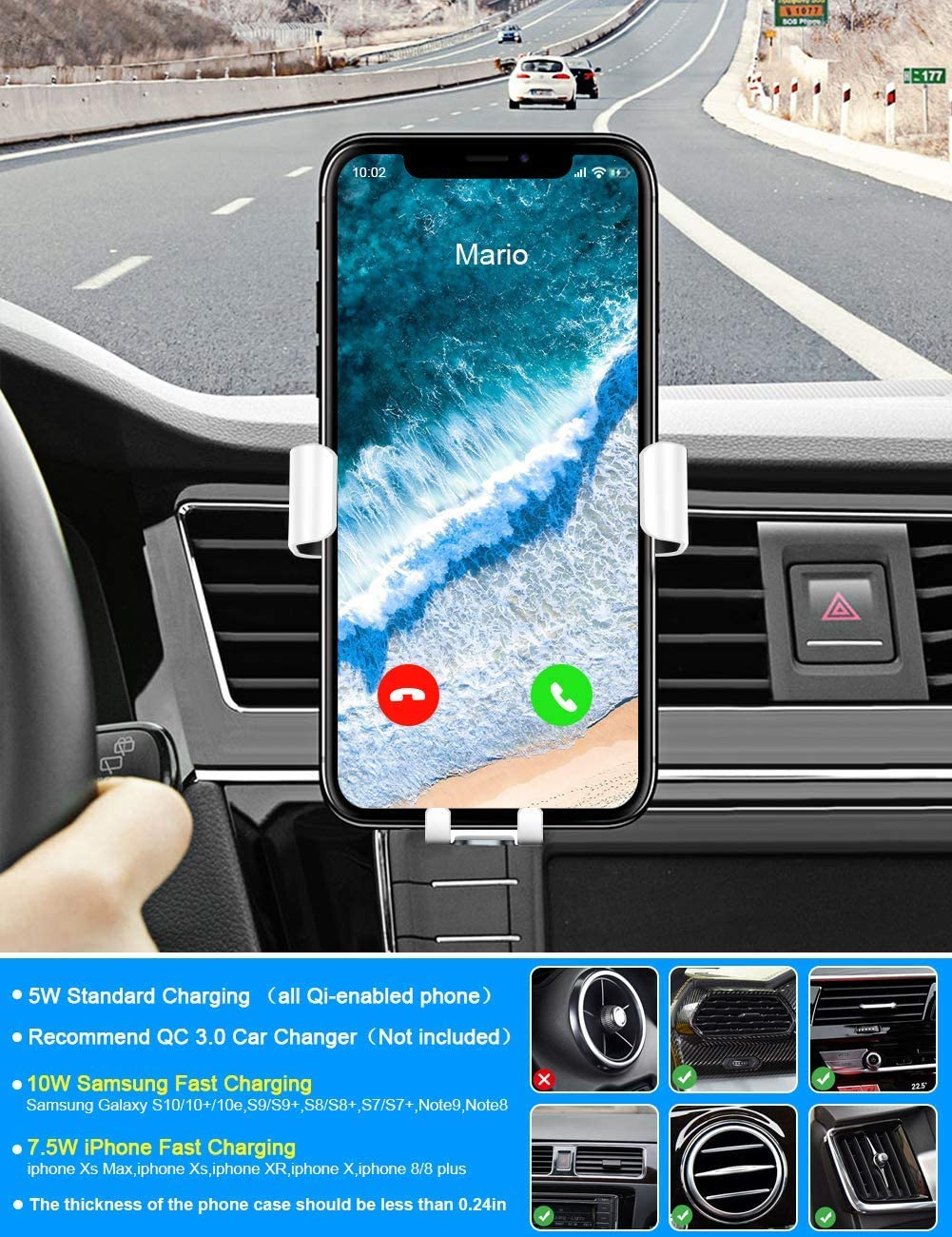 Zotasko Wireless Car Charger Fast Charging Car Charger Mount for Air Vent White Fast Wireless Charging Car Phone Holder for iOS and Android