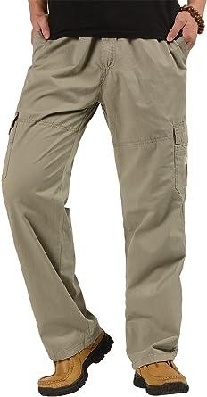 Cardanwolf Pantalones De Trabajo Cintura Elastica Algodon Ancho Para Hombres Cargo Deportes Ocasional Gris Talla 46 Cintura Elastica 80 93cm Amazon Es Ropa Y Accesorios