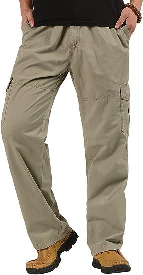 CardanWolf - Pantalones de Trabajo Cintura Elástica Algodón Ancho ...