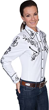 Floral Embroidered Retro Western Shirt