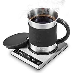 COSORI Coffee Mug Warmer & Mug Set,Electric 24Watt Beverage Cup Warmer for Desk Home Office Use,304 Stainless Steel 17oz Mug w/ Lid,Touch Tech & LED Backlit Display,Ideal for Gift,Coffee,Tea, Hot Cocoa