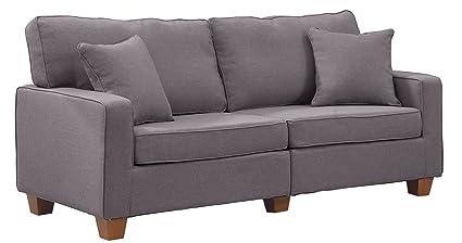 Amazon.com: Divano Roma Furniture 73 – Inch Love Seat Linen Fabric ...