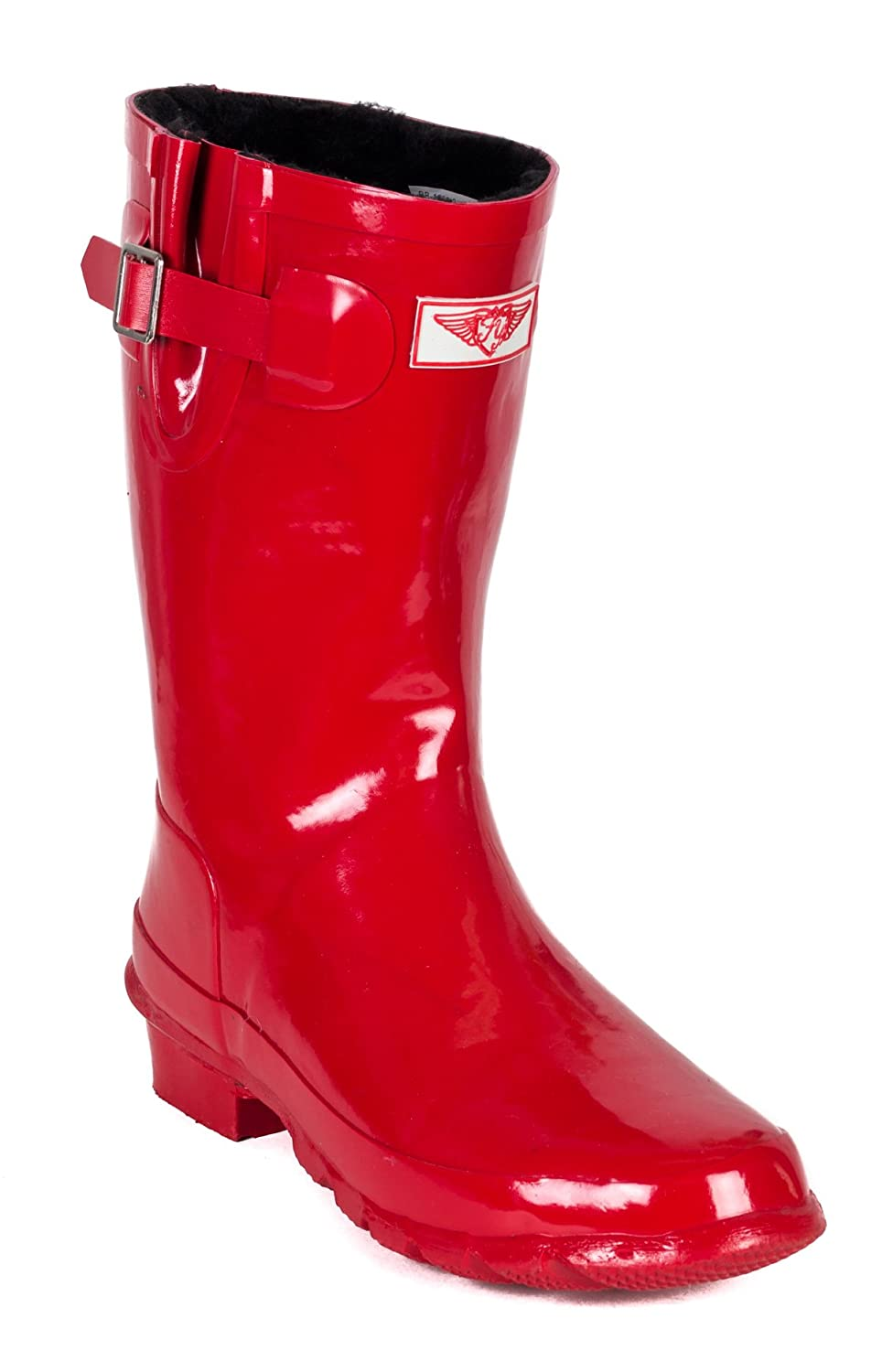 Forever Young Women Mid-Rise Rubber Rain Boots w/ Warm Faux Fur Lining