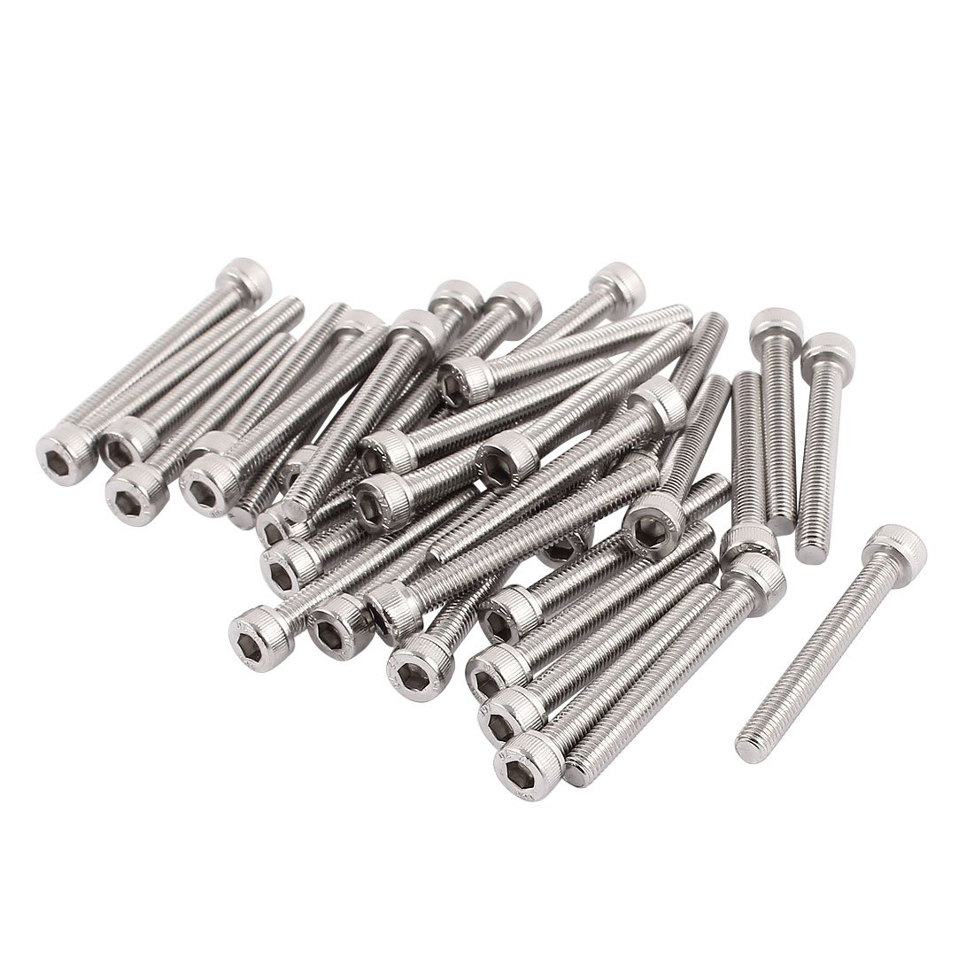 uxcell M5x40mm Thread 304 Stainless Steel Hex Socket Head Cap Screw Bolt DIN912 35pcs