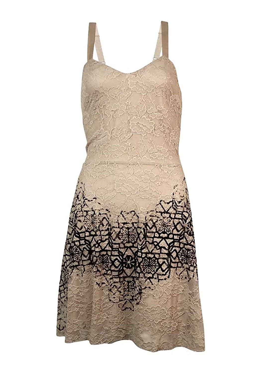 Free People Womens Flocked Sweetheart-Neck Lace Dress Oatmeal Combo Size Large