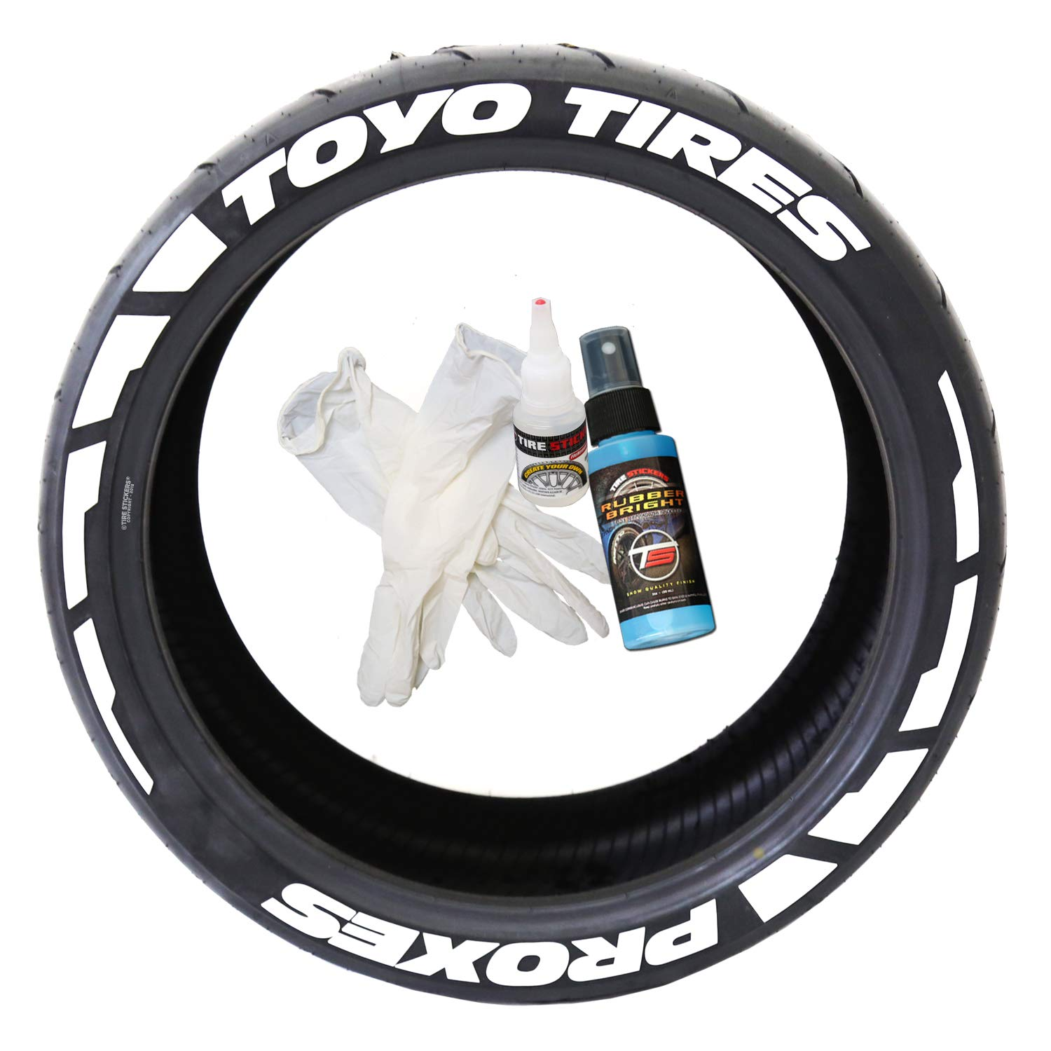 Tire Stickers Toyo Tires Proxes Frost Edition - DIY Permanent Rubber Tire Lettering Kit with Glue & 2oz Bottle Touch-Up Cleaner / 19-21 Inch Wheels / 1.25 Inches/White 8 Pack
