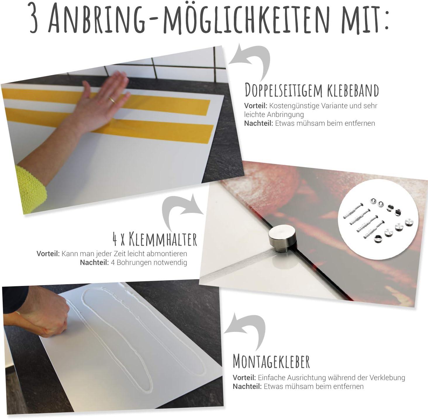 GRAZDesign K/üchen R/ückwand Wei/ß Glas-Bild Spritzschutz Herd Druck hinter Glas Bild-Motiv Gew/ürze und Tomaten 60x40cm