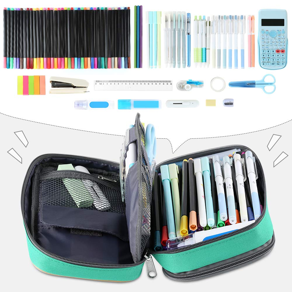 Blue 8.7x6x3.2 Homecube Pencil Case Big Capacity Storage Pen Bag Makeup Pouch Durable Students Stationery Two Big Pockets with Double Zipper