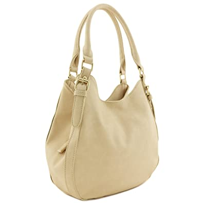 Amazon.com  Light-weight 3 Compartment Faux Leather Medium Hobo Bag  (Beige)  Shoes 9258fbb8e4280