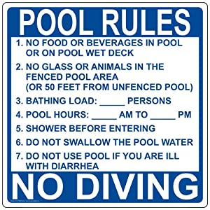 Florida Pool Rules No Food Or Beverages in Pool Or Deck Sign, 30x30 inch Aluminum for Recreation by ComplianceSigns