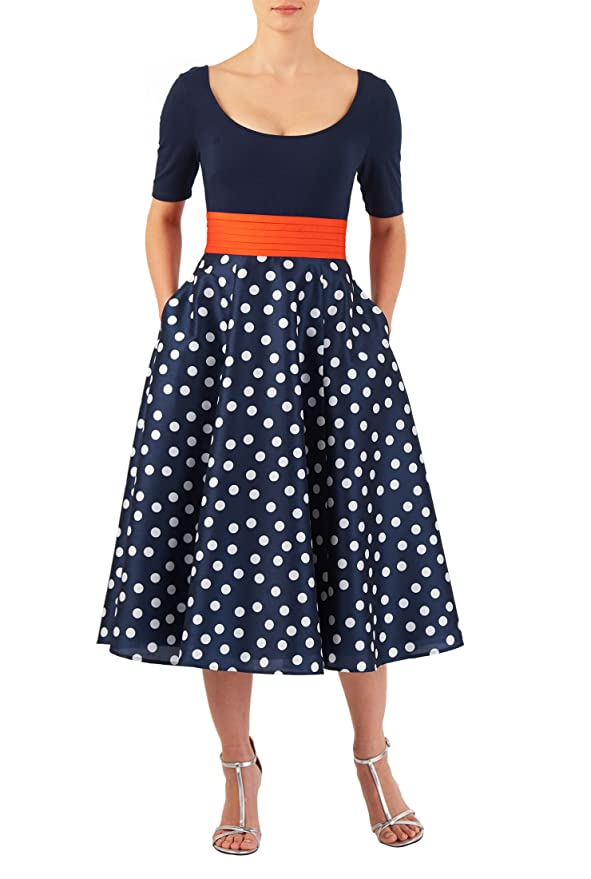 Plus Size Retro Dresses eShakti Womens Polka dot mixed media dress $69.95 AT vintagedancer.com