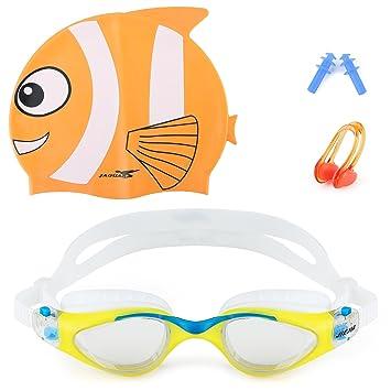 d6c0deed598fb8 Lunettes de natation, Jiejia Lunettes de natation + Silicone Bonnet de bain Protection  UV anti