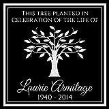 Custom Made Personalized Tree Planting Dedication Ceremony Memorial 12x12 Inch Engraved Black Granite Grave Marker Headstone Plaque LA1