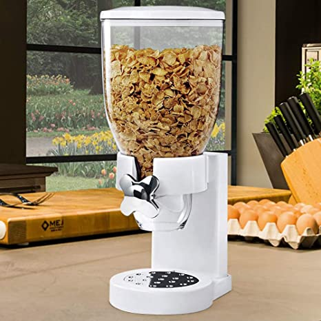 Contenitore da 500 gr e Dosatore Interno BAKAJI Dispenser per Cereali//Pasta//Caramelle//Dolci//Frutta Secca Singolo con Rotella Bianco