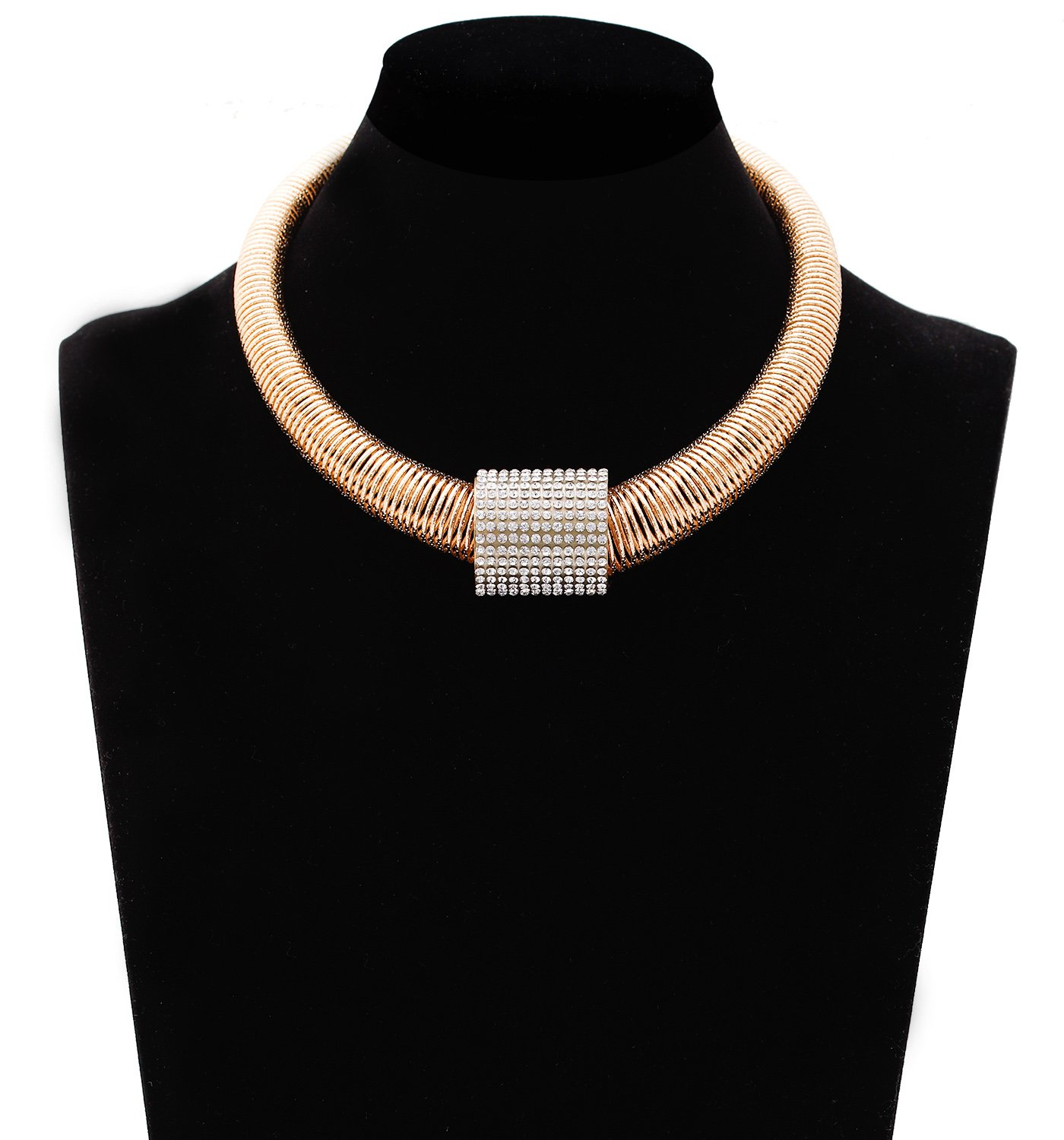 PHALIN JEWELRY Women's Stretch Chunky Choker Necklace Adjustable Chain Link with Crystal Pendant Necklace
