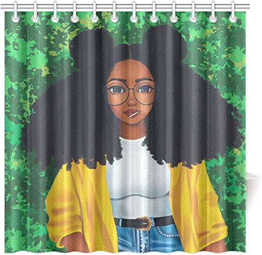 60/'/' x 72/'/' Cartoon African Woman Waterproof Bathroom Shower Curtain /& 12