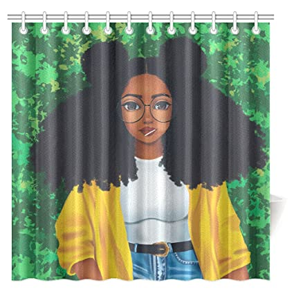 CTIGERS African Girl Shower Curtain Cartoon Afro Hair Woman Polyester Fabric Bathroom Decoration 72 X