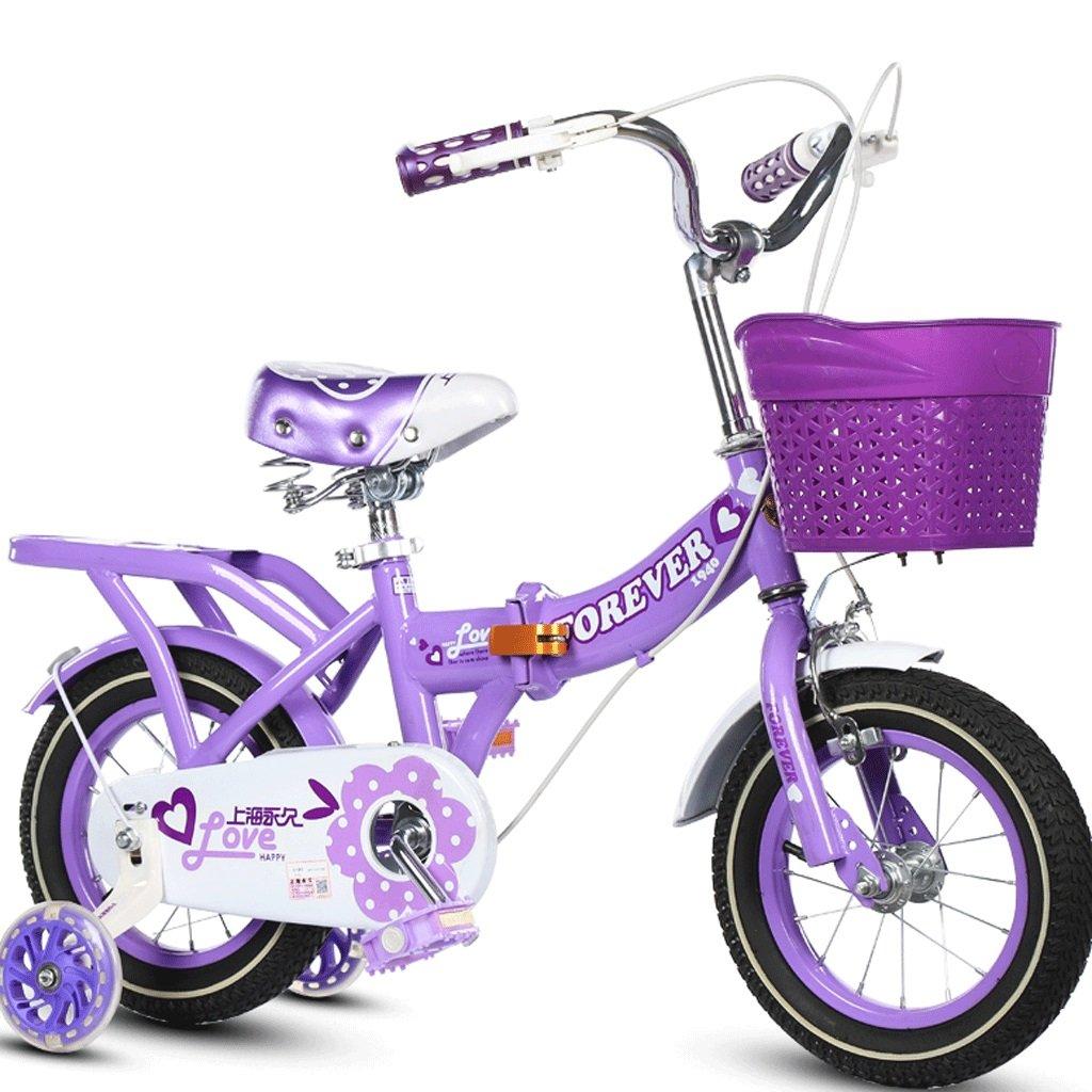 DGF 子供用自転車折りたたみ式ベビーカー女の子プリンセスモデルサイクリングキッズバイク3-10歳 (色 : パープル ぱ゜ぷる, サイズ さいず : 14 inches) B07FH7M33Bパープル ぱ゜ぷる 14 inches