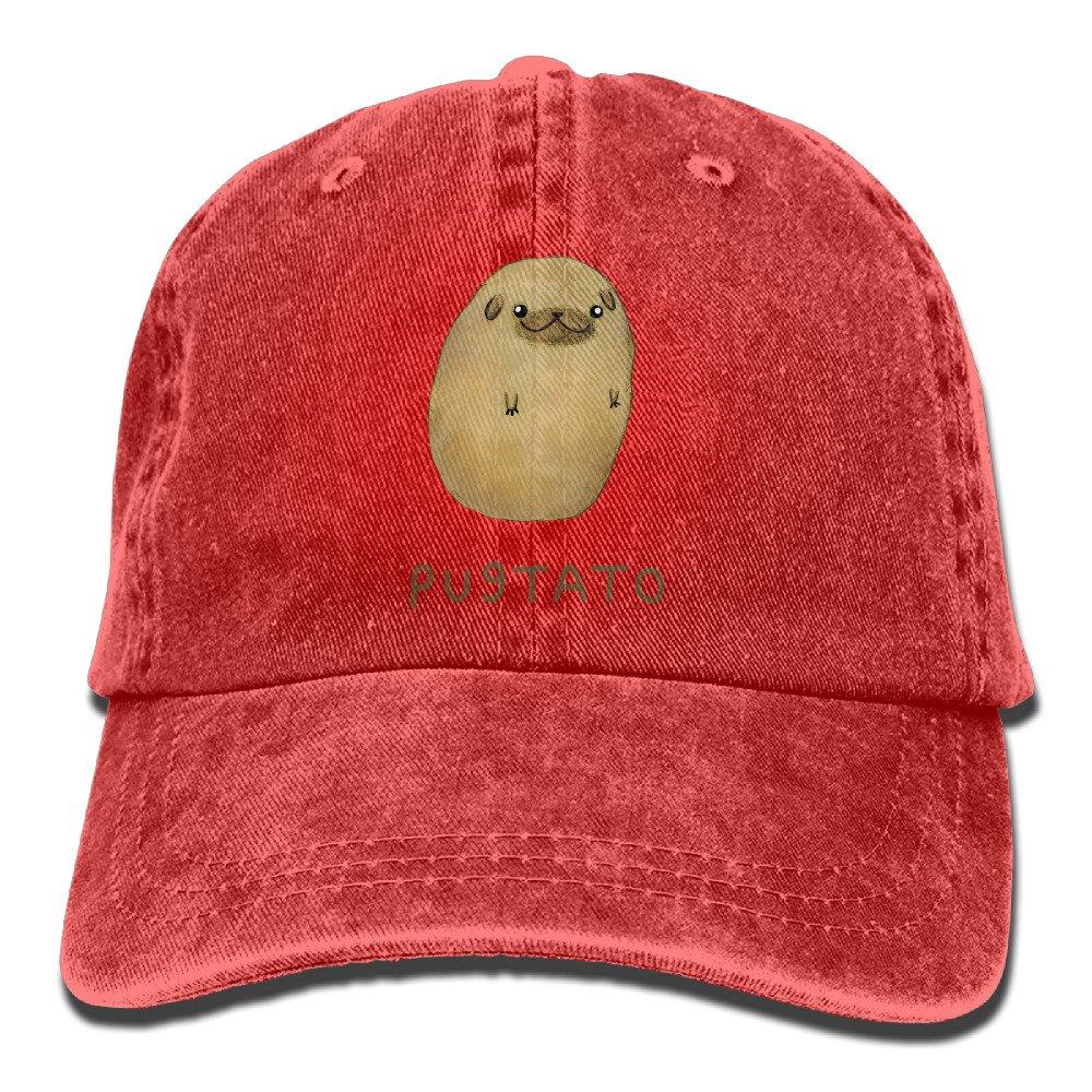 Pug Nose Potato Pugtato Washed Retro Adjustable Cowboy Hat Gym Caps ForMan And Woman