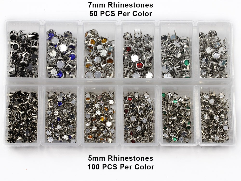 Stud Setter Plus Approx 1200 Rhinestone Studs In 3 Sizes And 6 Assorted Colors. Starter Kit
