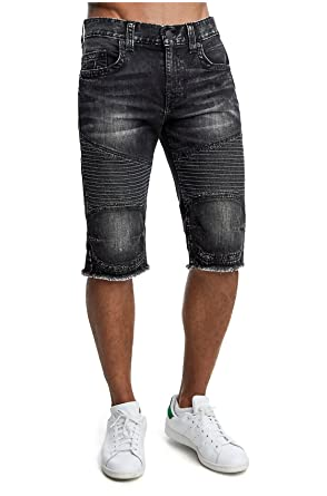 eb654da6ee True Religion Men's Straight Moto Cut-Off Denim Shorts in Loose Pavement ...