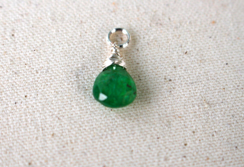 Tsavorite Green Gemstone Drops - Green Gemstone Charm - Green Teardrop Charm - Gemstone Charm - Green Charm - Teardrop Charm - Green Charm