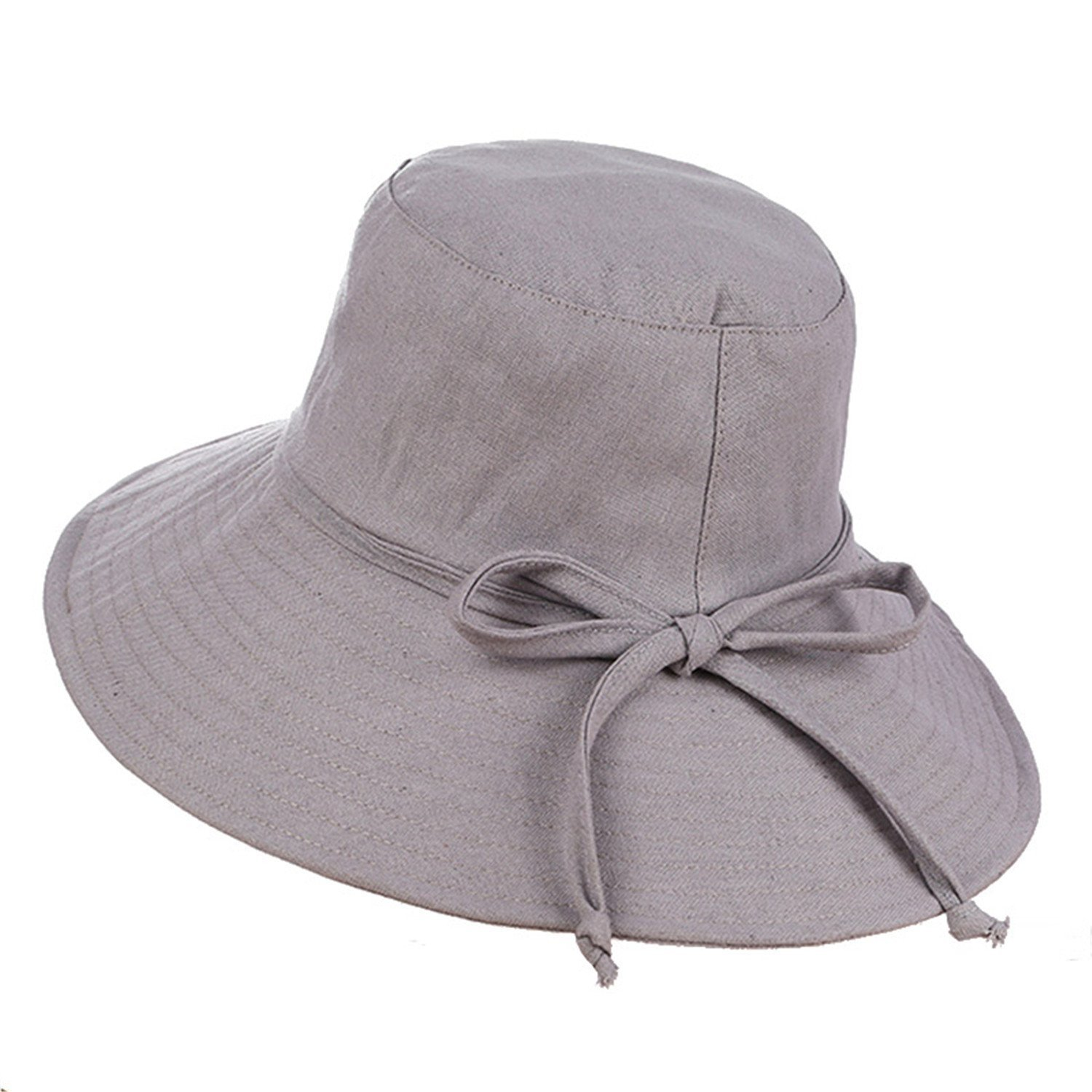 Mainstream Summer Hat Wide Brim Sun Hats For Women Foldable Beach Caps 5 Solid Colors,OneSize,Gray
