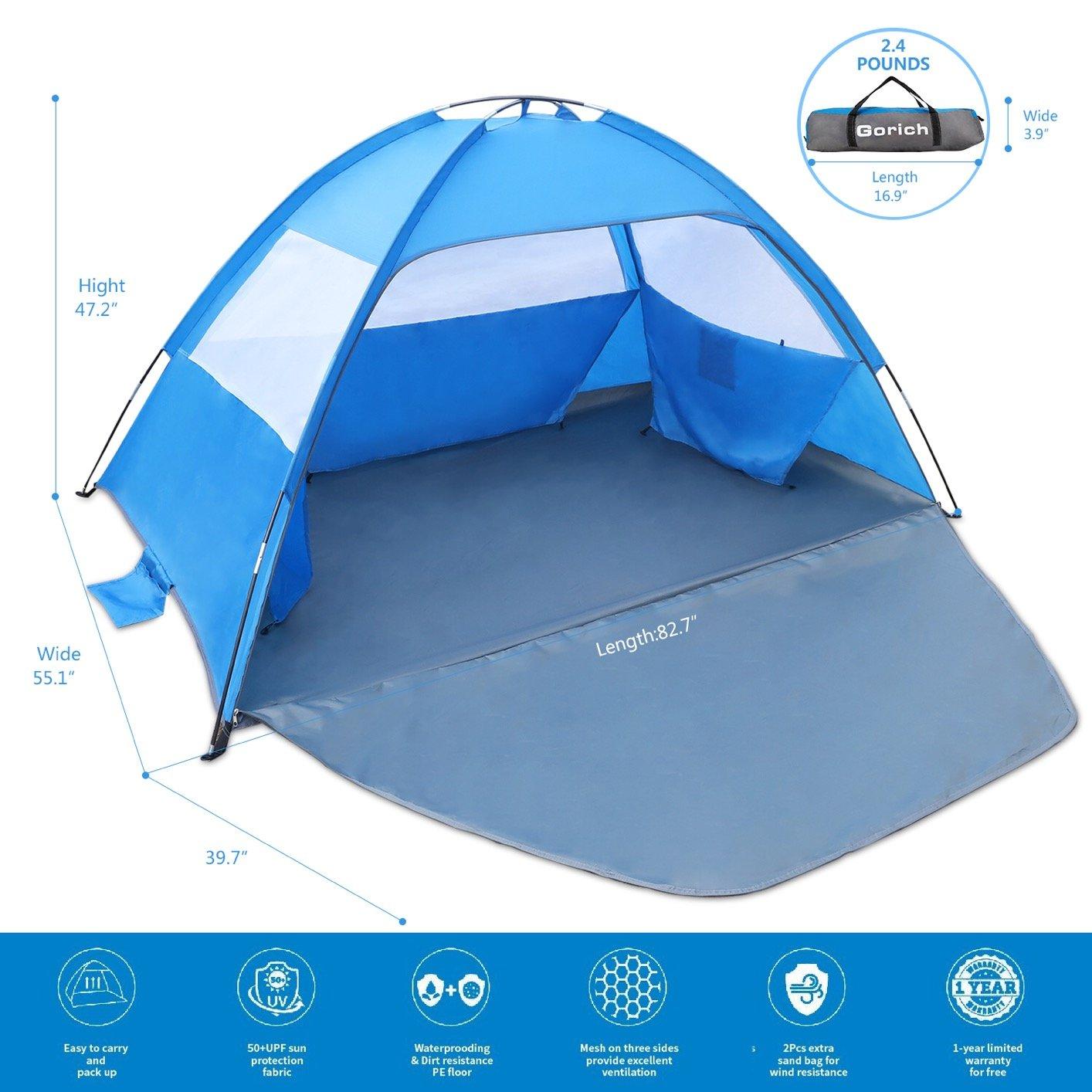 on sale 664b9 6029a Gorich [2019 New Beach Tent, UV Sun Shelter Lightweight Beach Sun Shade  Canopy Cabana Beach Tents Fit 3-4 Person