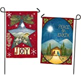 Evergreen Joy and Peace on Earth Suede Garden Flag, 12.5 x 18 inches