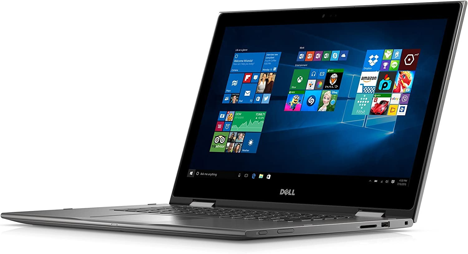"Dell i5568-0463GRY 15.6"" FHD 2-in-1 Laptop (Intel Core i3-6100U 2.3GHz Processor, 4 GB RAM, 500 GB HDD, Windows 10) Gray"