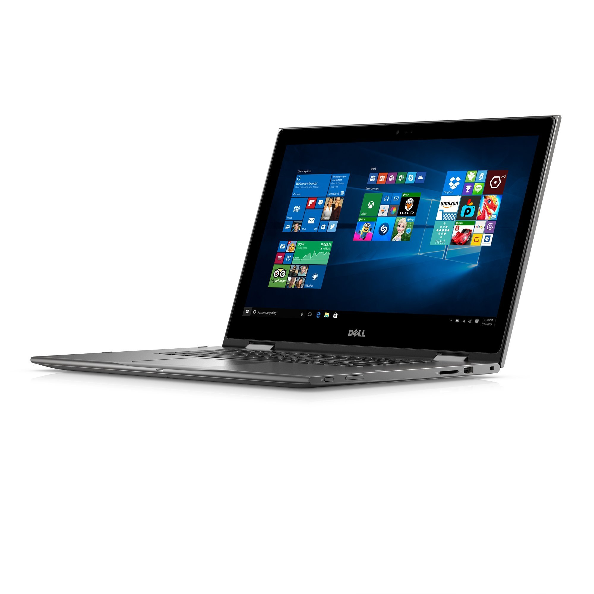 Dell i5568-0463GRY 15.6'' FHD 2-in-1 Laptop (Intel Core i3-6100U 2.3GHz Processor, 4 GB RAM, 500 GB HDD, Windows 10) Gray