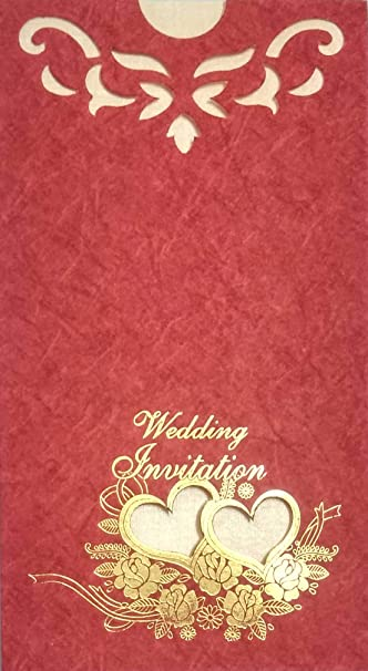 Harini 2 Heart In With Roses And Flower Dye Cutting Design Marriage Invitation Cards Red Single Sandal Color Leaf 8 75 X 4 75 Pack Of 100