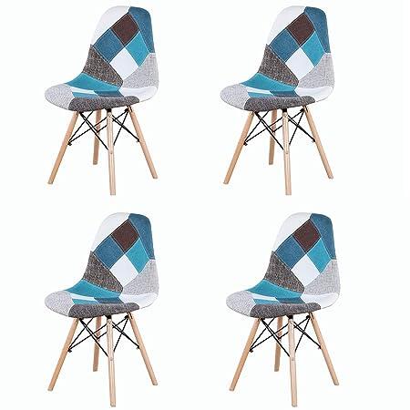 en Bois SalonSalle Salle à GroBKau Tissu de MangercaféSalle Base pour Chevilles avec Manger Lot en de Patchwork et Idéal chaises Modernes à 4 T1FKlJc