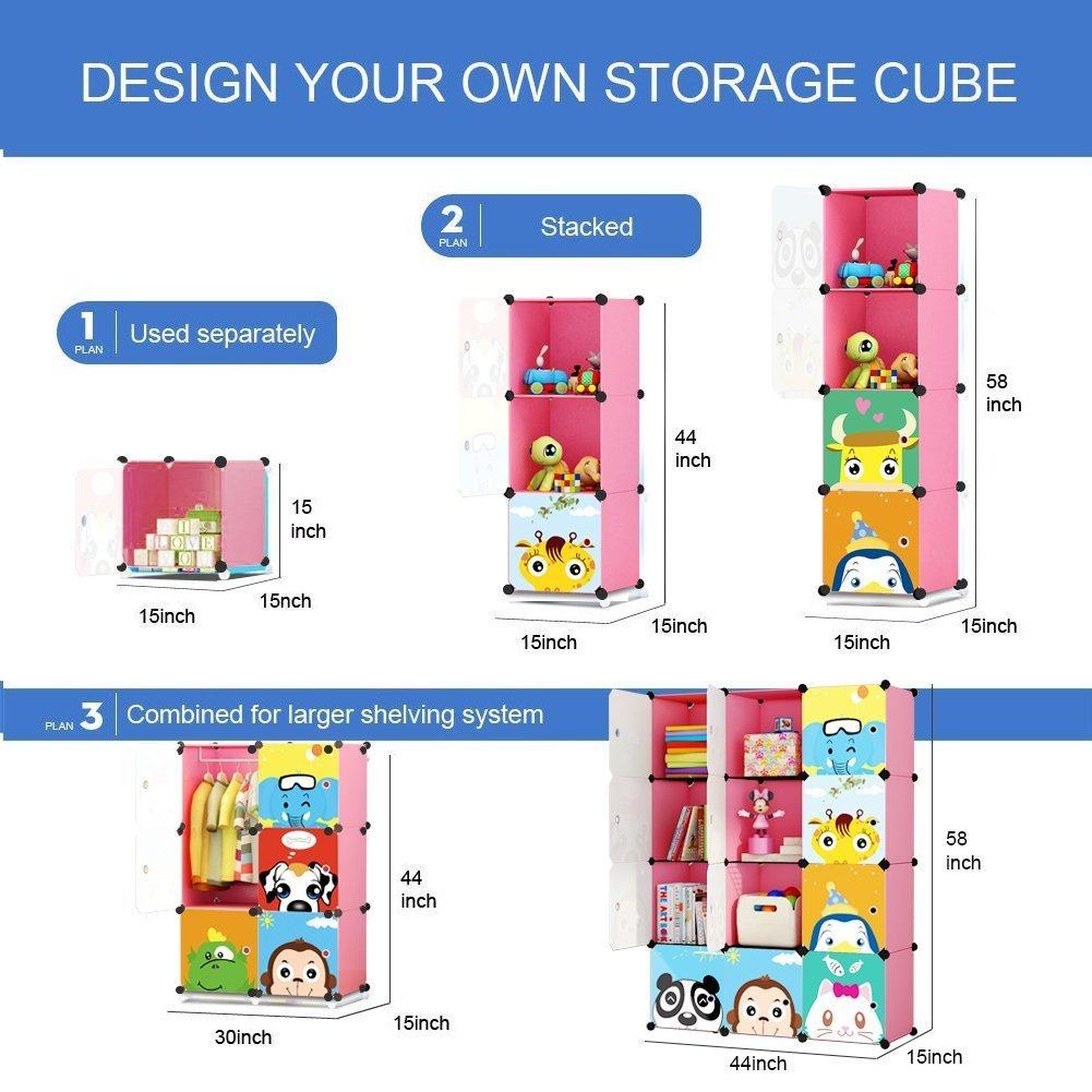 KOUSI Portable Kids Bookshelf Children Toy Organizer Multifuncation Cube Storage Shelf Cabinet Bookcase Capacious /& Study Pink:9 Cubes